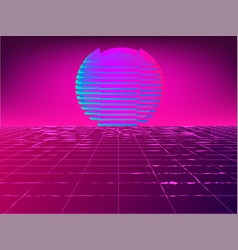 Retro 1980s glowing neon sun background vector