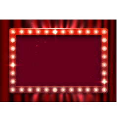 Retro light sign vintage style banner on curtain vector