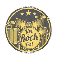 rock festival grunge logo design vector image