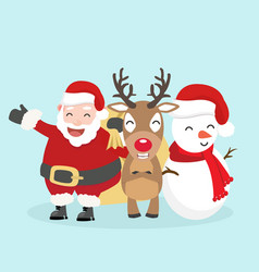 santa claus snowman and reindeer vector image