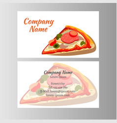 set of business cards design with pizza vector image
