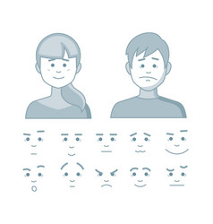 Set of different emotions girl and men in cartoon vector