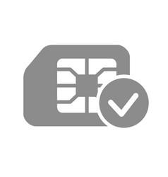 Sim card check flat gray icon approved phone vector