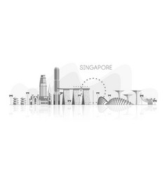 skyline singapore white shades grey reflection vector image