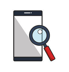 smartphone with magnifying glass vector image