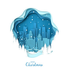 snowy chicago city merry christmas paper art vector image