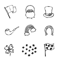 St patrick s day icons collection outline vector