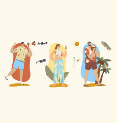 Summer time concept man with megaphone vector