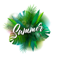 summer with typography letter and vector image