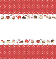 Sweets frame on red in dots vector