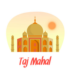 taj mahal flat with lettering text vector image