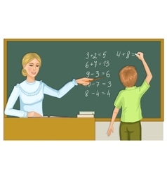 Teacher and schoolboy at blackboard eps10 vector image