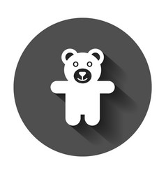 teddy bear plush toy icon with long shadow vector image