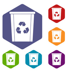 Trash bin with recycle symbol icons set hexagon vector