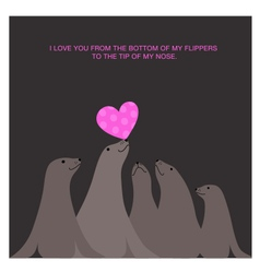 valentines day card design with sea lions vector image