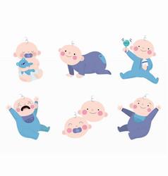 variety cute babies set vector image