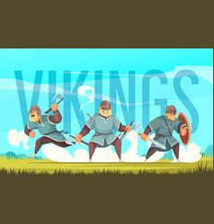 Vikings cartoon title vector