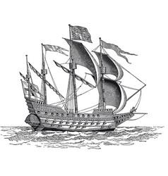 Vintage british war ship engraving vector