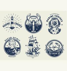 vintage monochrome nautical emblems set vector image