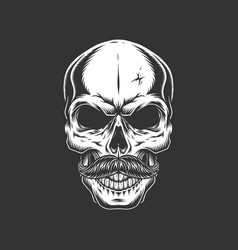 Vintage skull with mustache vector
