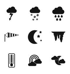 Weather outside icons set simple style vector image