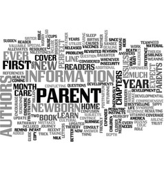 what to expect your first year as a parent text vector image
