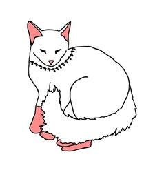 white cat sleeping on white background vector image