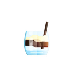white russian cocktail in glass isolated on white vector image