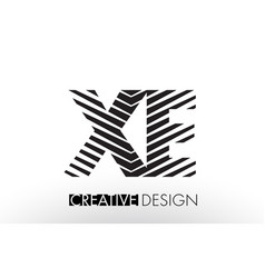 Xe x e lines letter design with creative elegant vector