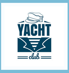 Yacht club badge with hat vector