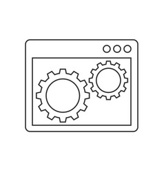 gears inside the browser window line icon vector image