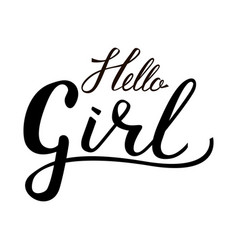 inscription brush hello girl vector image vector image