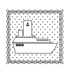 monochrome contour frame of vessel and background vector image vector image