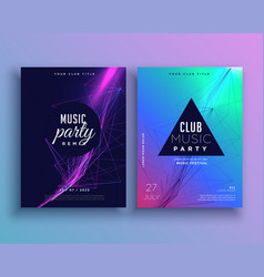music party invitation poster template set vector image vector image
