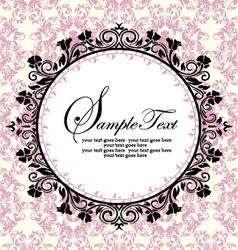 ornate frame on pink damask background vector image