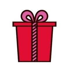 red gift box present ribbon celebration vector image