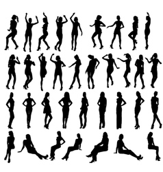 silhouettes of dancing standing and vector image