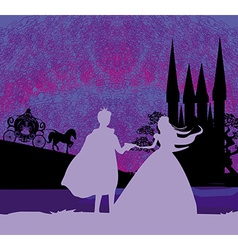 Magic castle and princess with prince vector image vector image