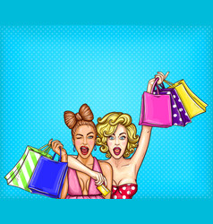pop art of two young glamorous vector image vector image