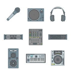 various color outline sound devices icons set vector image vector image