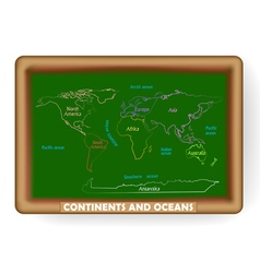 world map drawing on the classroom blackboard vector image vector image