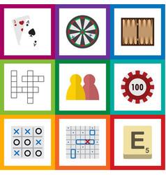 flat icon play set of mahjong guess poker and vector image vector image