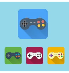 Joystick flat icons set Round colorful buttons vector image vector image