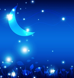 landscape at night with the moon vector image vector image