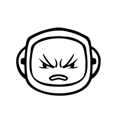 thin line angry face icon vector image vector image