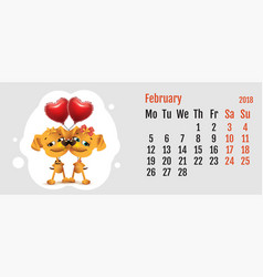 2018 year of yellow dog on chinese calendar dog vector image