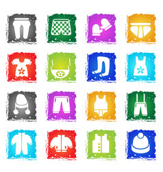 baby clothes icon set vector image vector image