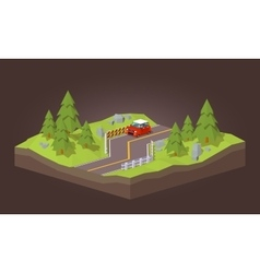 Cube World Red car traveling on the road vector image