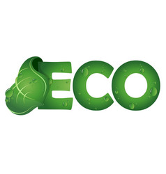 eco symbol with green leaf vector image vector image