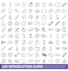 100 introduction icons set outline style vector